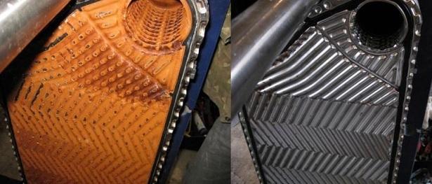 Теплообменник до и после химической очистки